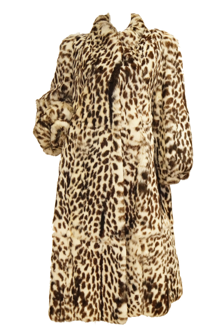 1980s Supple Brazilian Leopard Print Rabbit Fur Coat by Polo Norte