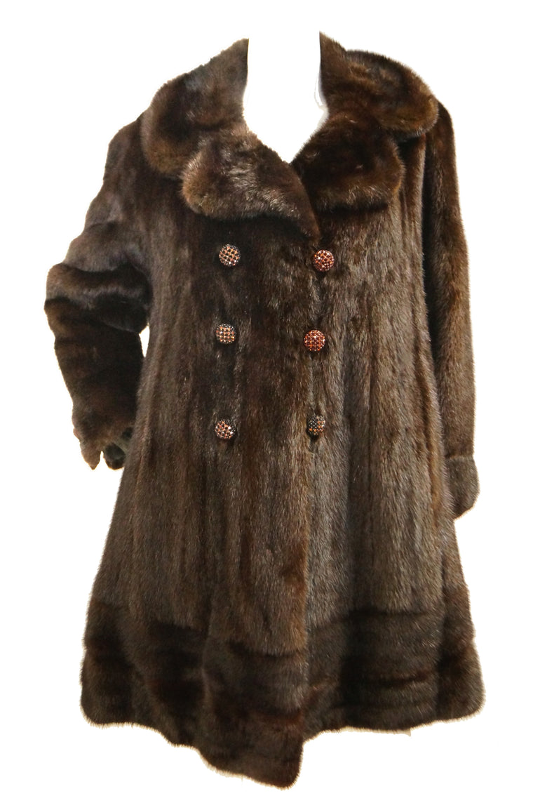 1960s Espresso Brown Mink Swing Coat with Rhinestone Detail Buttons