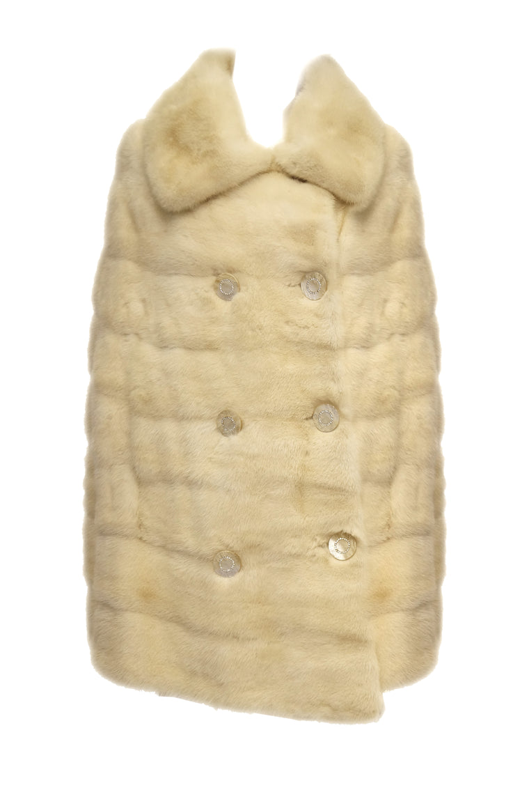1950s Ben Kahn Pearl Mink Cape Coat w/ Pearlescent Lucite & Rhinestone Buttons