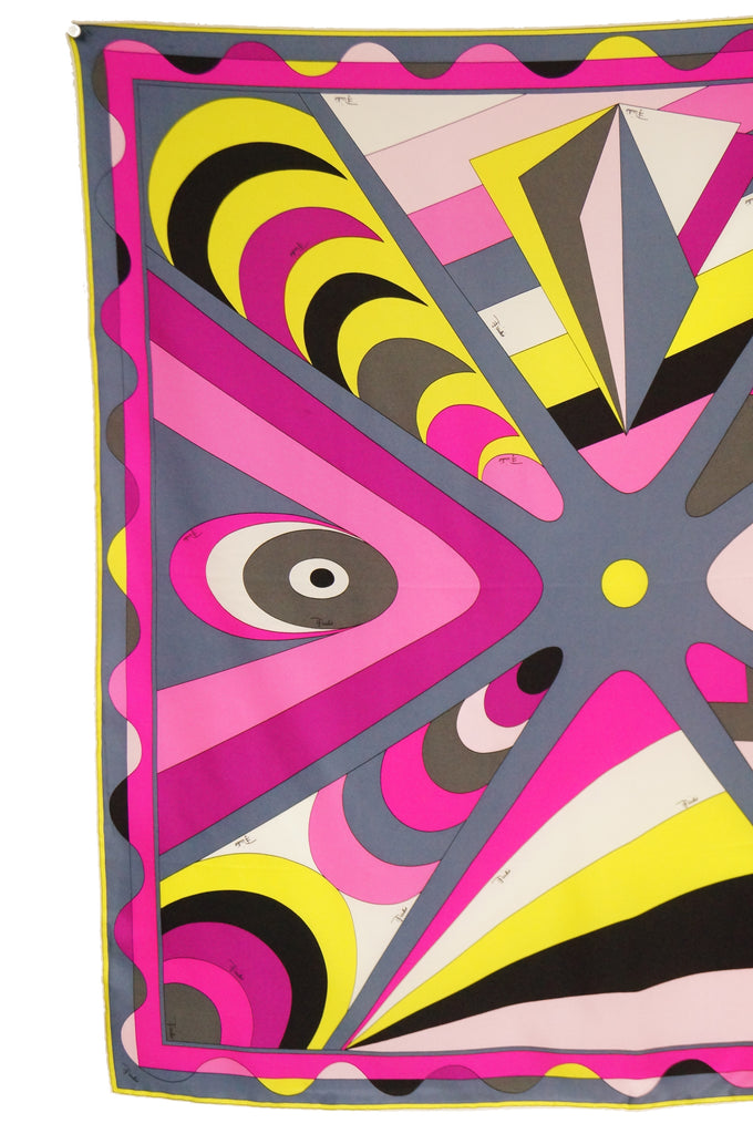 1960s Emilio Pucci Pink Geometric Silk Scarf In Original Sleeve