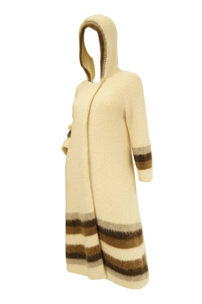1960s Hilda Icelandic Wool Coat with Hood and Stripe Detail