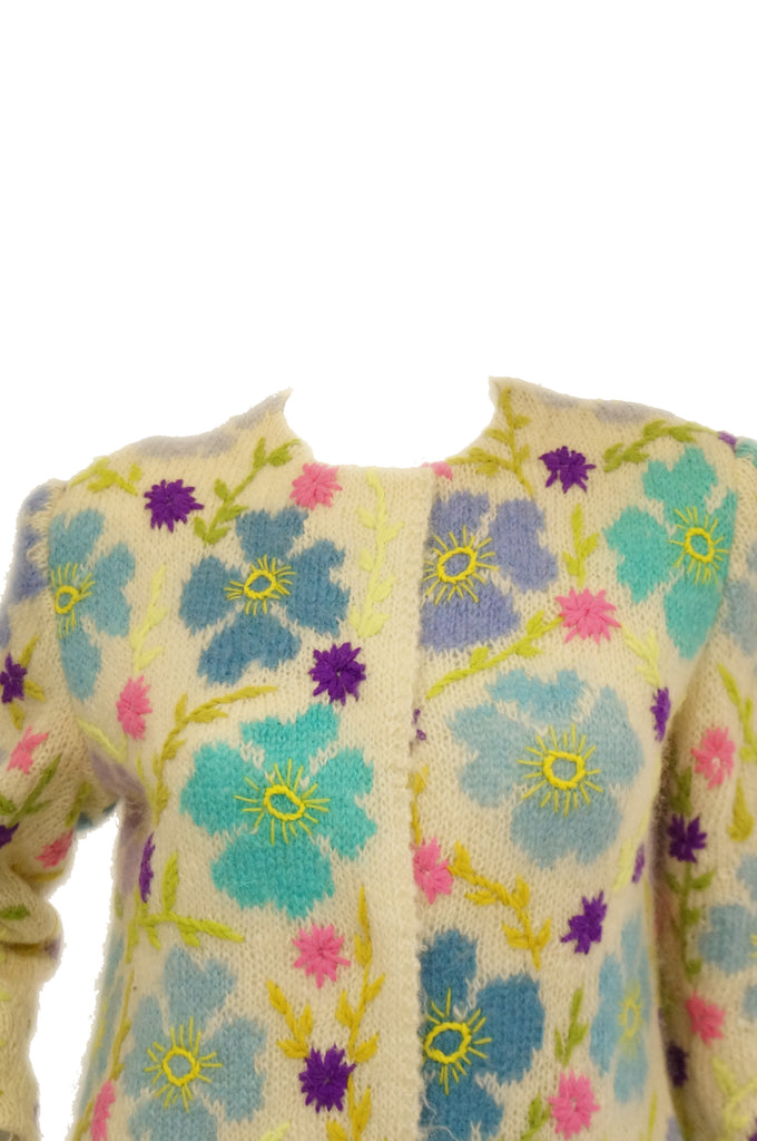 1960s Italian Hand Knit Floral Wool Sweater Coat
