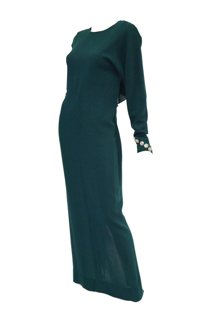 1980s Galanos Backless Green Dress