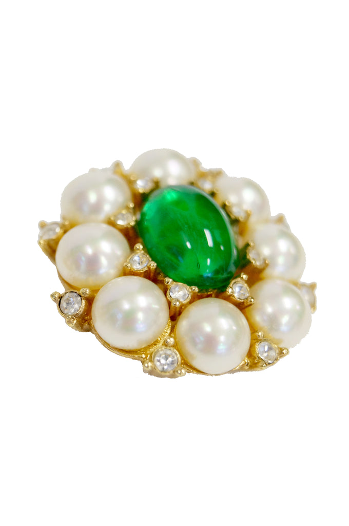 1960s Christian Dior Poured Glass Emerald and Faux Pearl Earrings