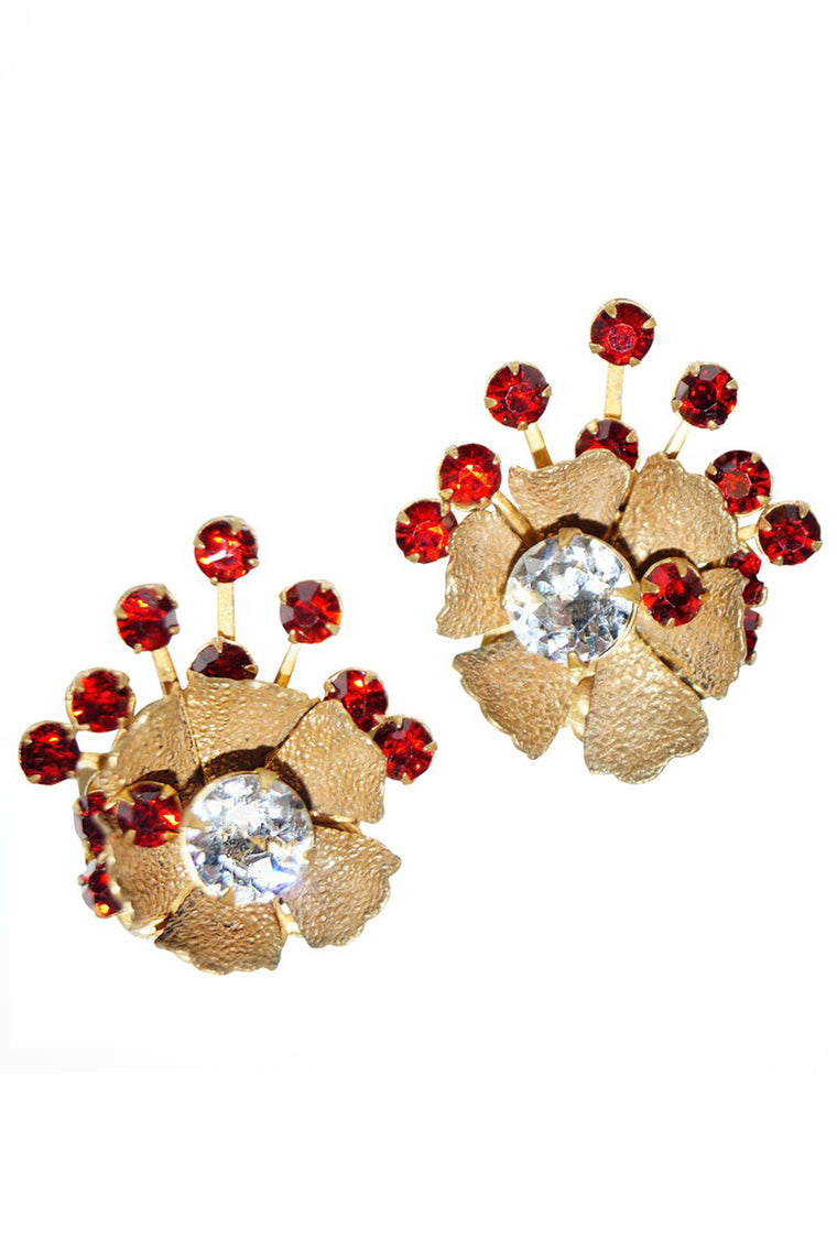 1950s Miriam Haskell Red Rhinestone Sunburst Floral Earrings