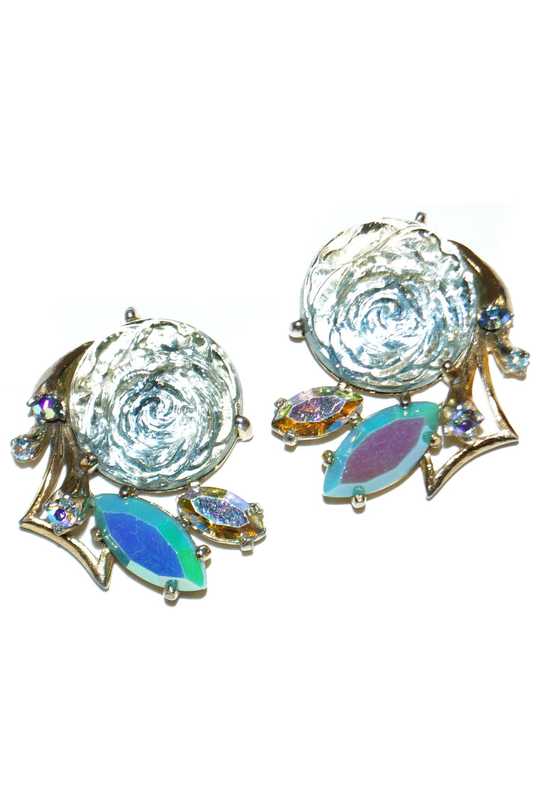 1950s Elsa Schiaparelli Iridescent Blue Art Glass Rose and Rhinestone Earrings