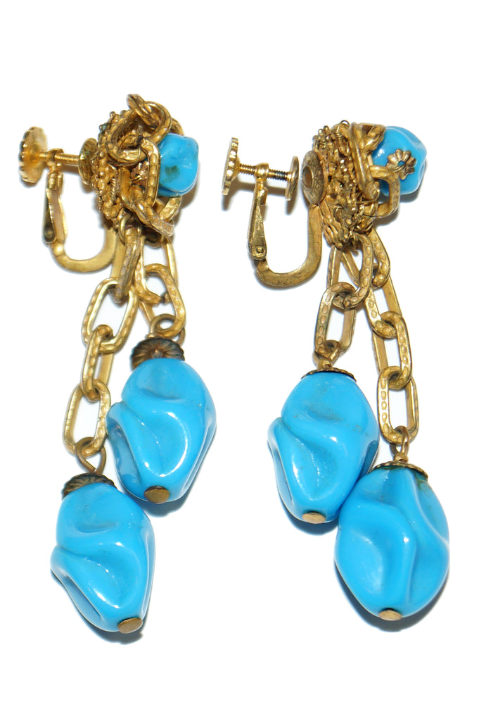 1950s Miriam Haskell Turquoise Art Glass Chain Accent Dangle Earrings