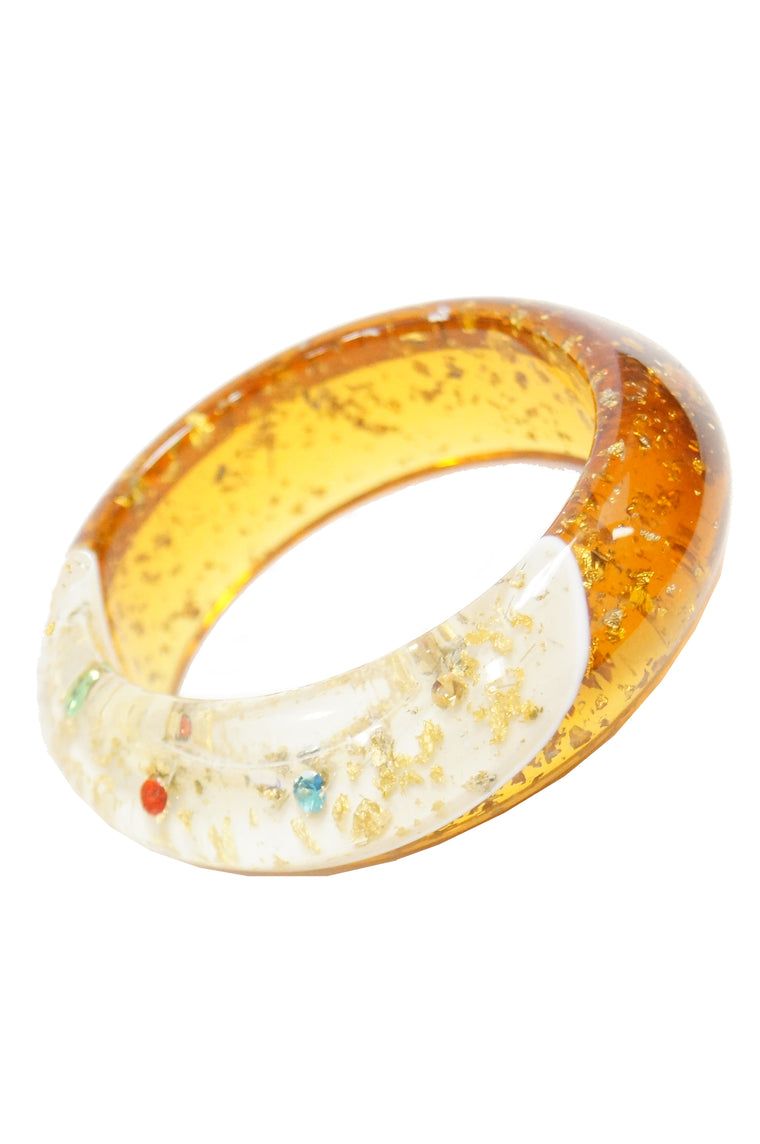 1950s Amber Lucite Bangle with Glitter and Rhinestone Inclusions