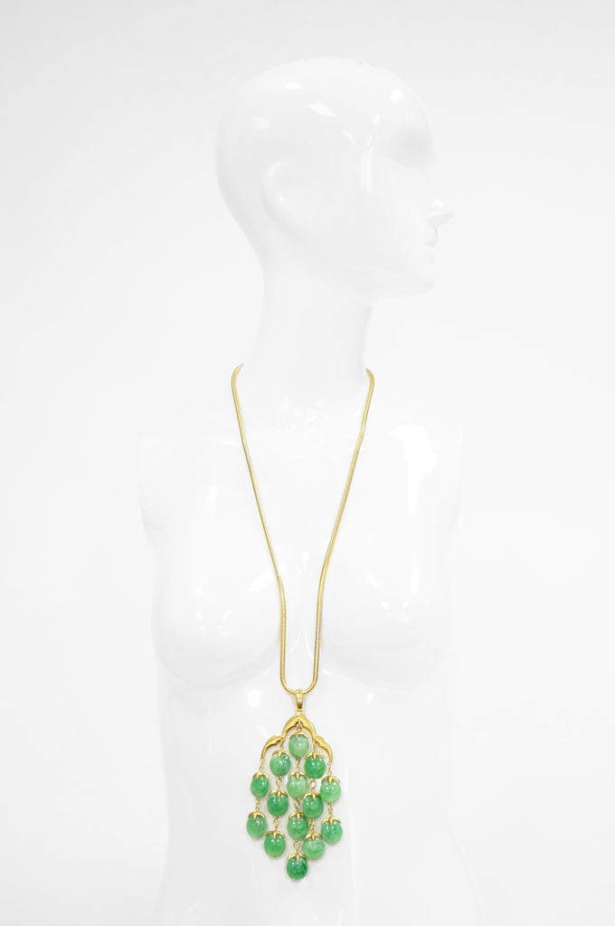 Late 1960s Trifari Long Jade Green Lucite Waterfall Necklace