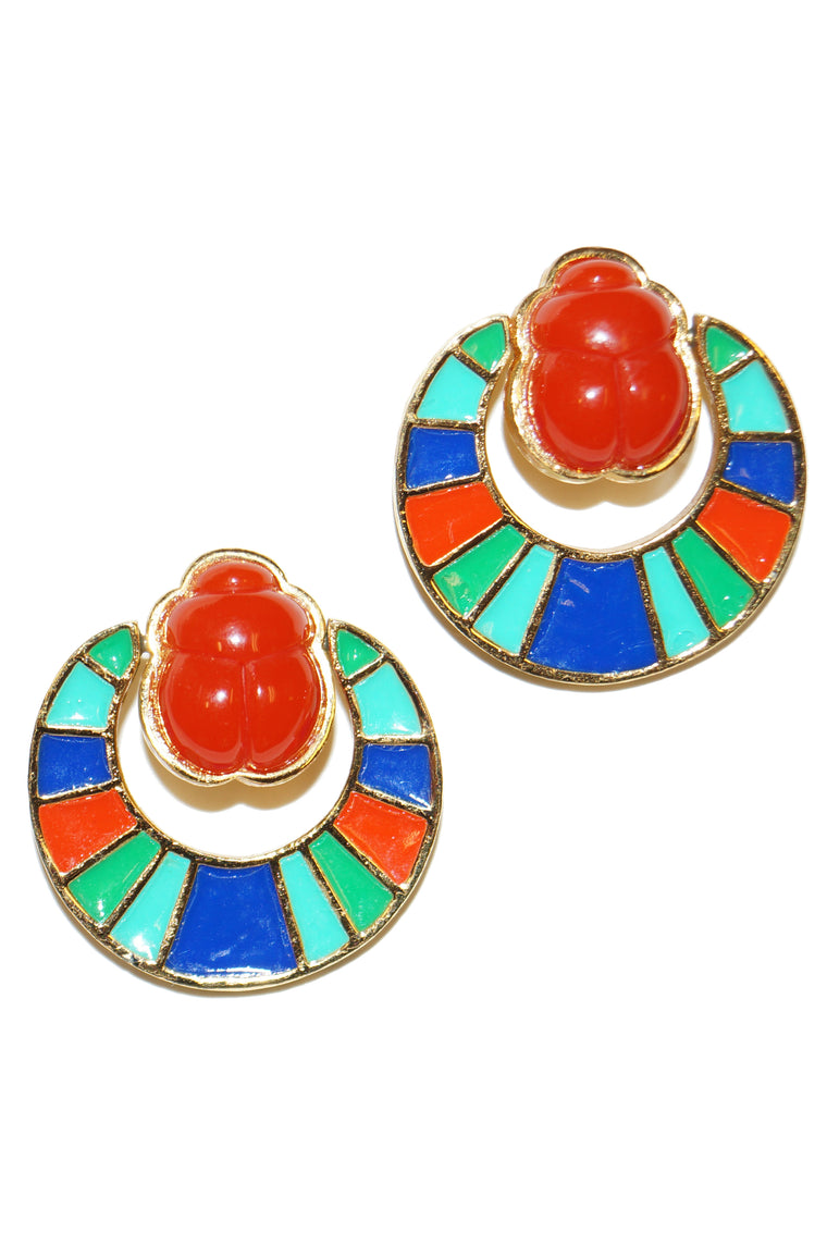 1960s Hattie Carnegie Egyptian Revival Enamel Scarab Door Knocker Earrings