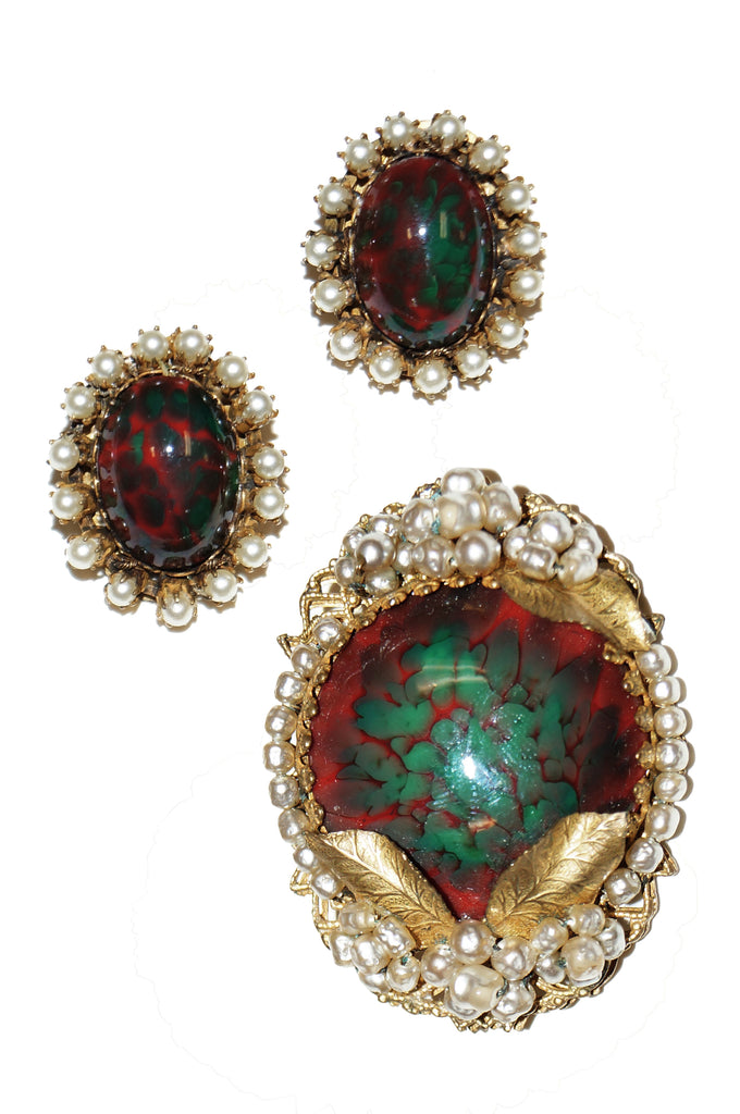 1950s Miriam Haskell Green & Red Poured Glass and Pearl Floral Demi Parure