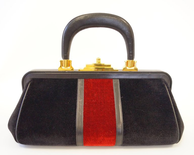 1970s Roberta di Camerino Velvet Black Red Gold Top Handle Purse