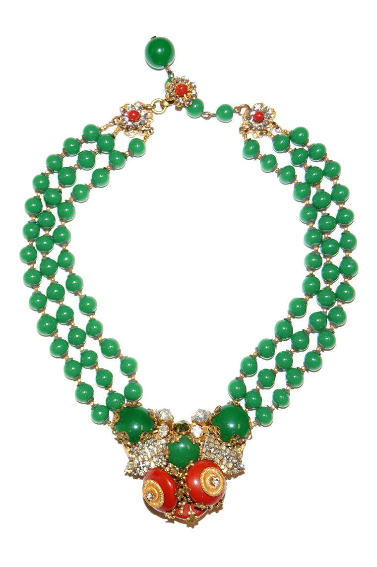 1950s Miriam Haskell Green and Red Glass and Rhinestone Floral Choker