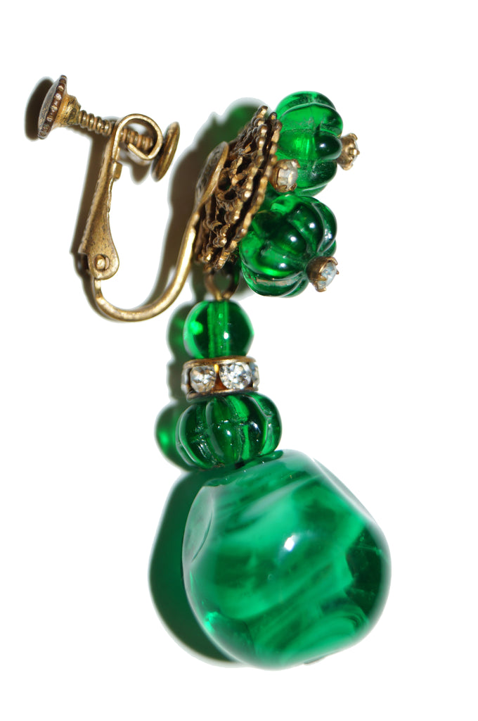 1950s Miriam Haskell Emerald Green Poured Glass and Rhinestone Drop Earrings