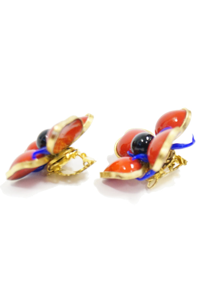 1970s Maison Gripoix for Jean Patou Poppy Red Earrings