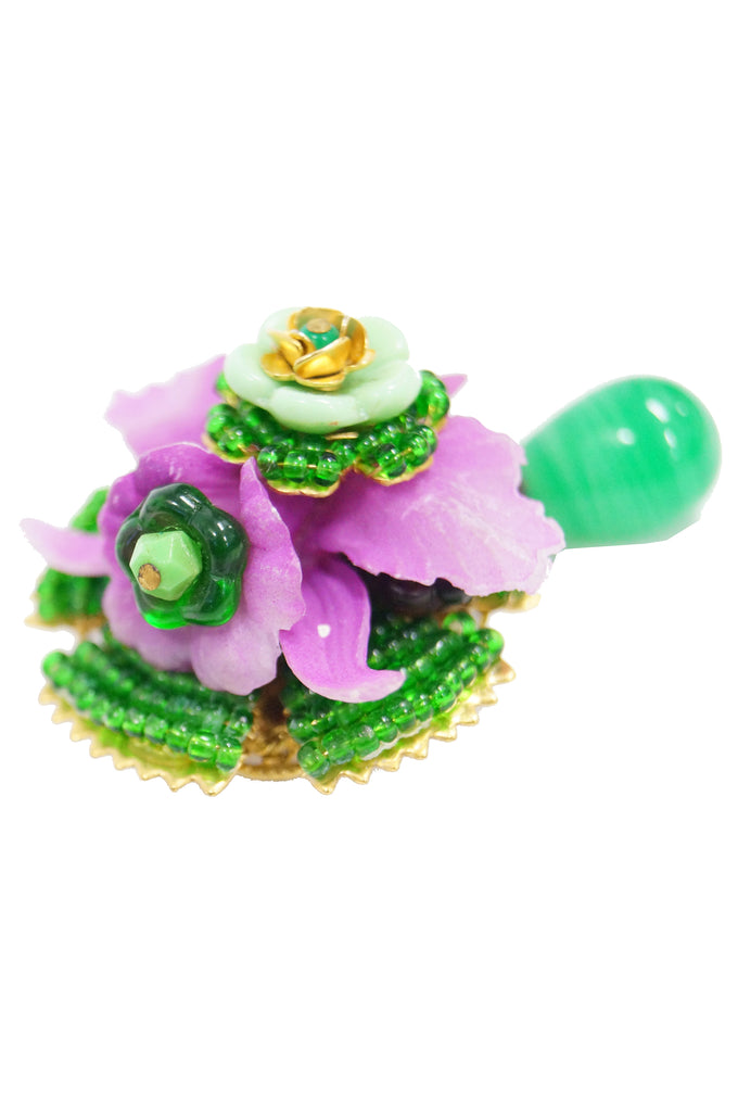1960s Stanley Hagler Pink and Green Poured Glass Floral Dangle Brooch