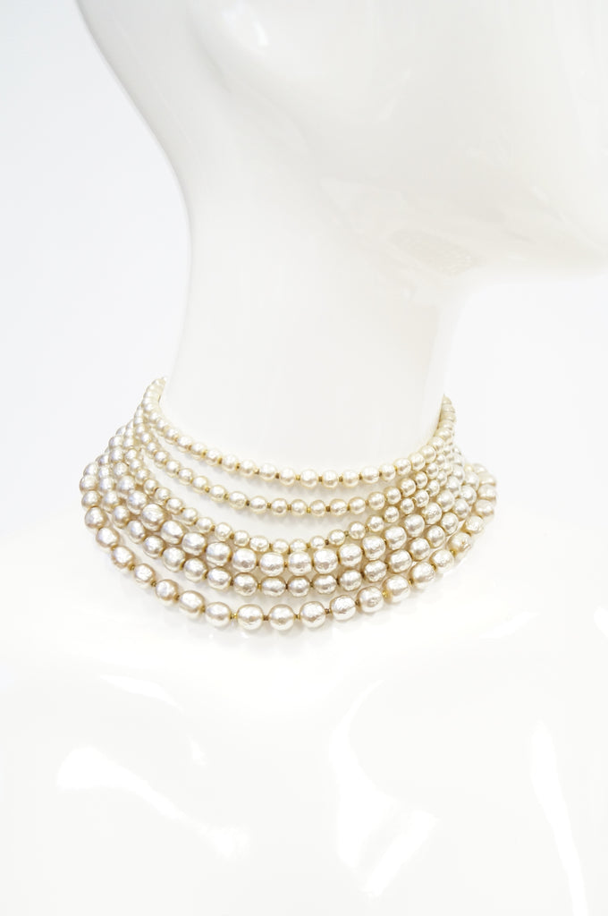 1950s Miriam Haskell Multi Strand Pearl Choker with Floral Filigree Rhinestone