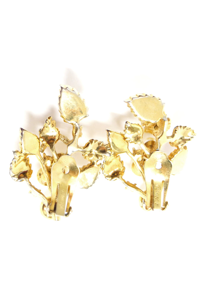 1960s Hattie Carnegie Floral Gold Tone Rhinestone Entremble Earrings