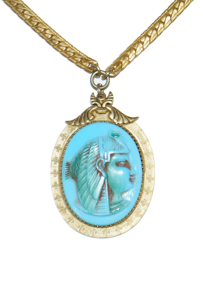 1970s Whiting & Davis Egyptian Revival Isis Cameo Necklace and Bracelet