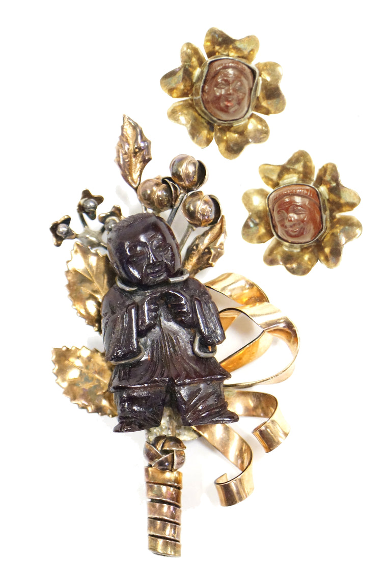 1940s Hobe Sterling Vermeil Carved Wood Chinese Figural Demi Parure