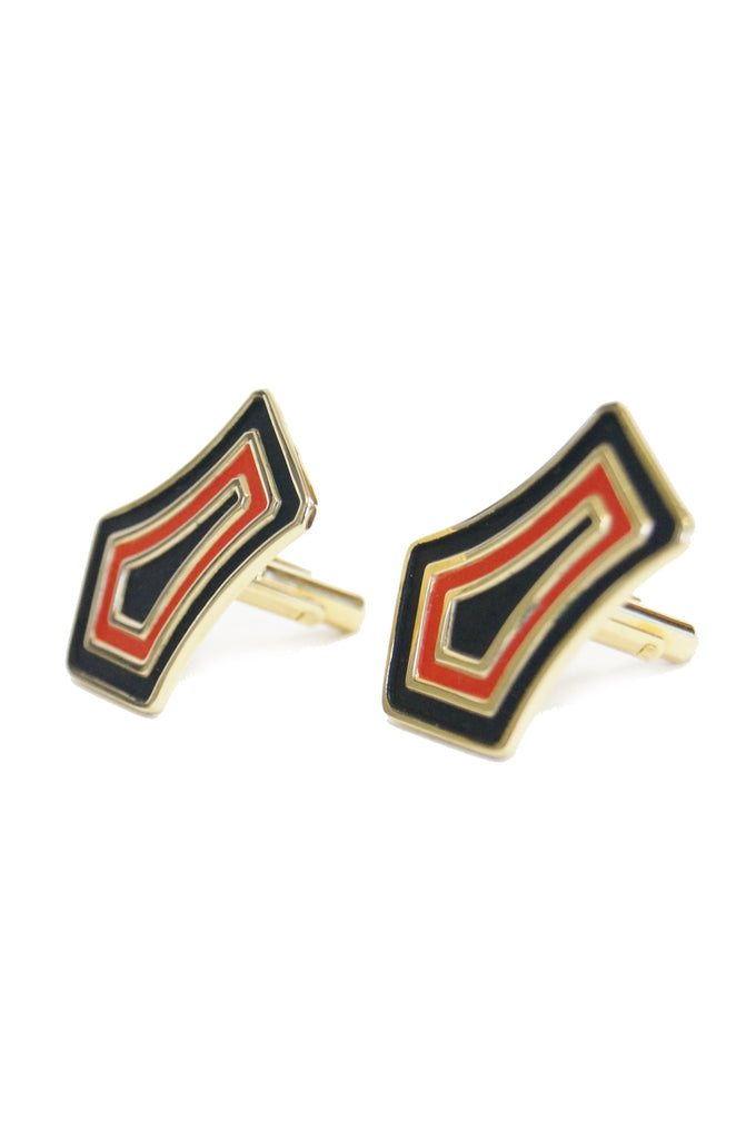 Vintage Large Flat Black and Red Paint Gold tone Cufflinks