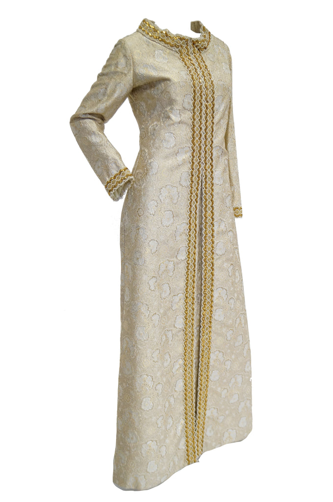 1960s Couture Metallic Gold Brocade Maxi Dress with Sequin and Pearl Bead Detail