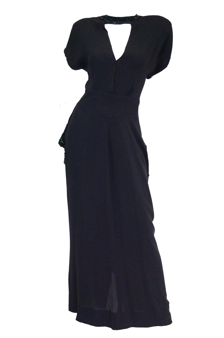 1930s Black Bias Crepe Silk Dress w/ Bead, Sequin, Bustle, & Keyhole Neckline