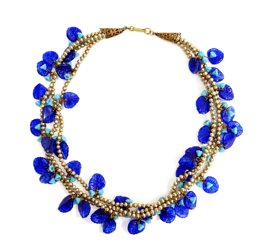Mid Century Miriam Haskell Poured Art Glass Cobalt Flower Necklace
