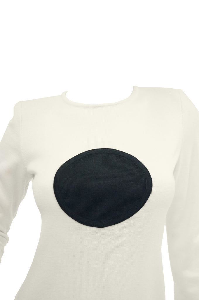 1960s MOD Cream Knit Wear Dot Dress