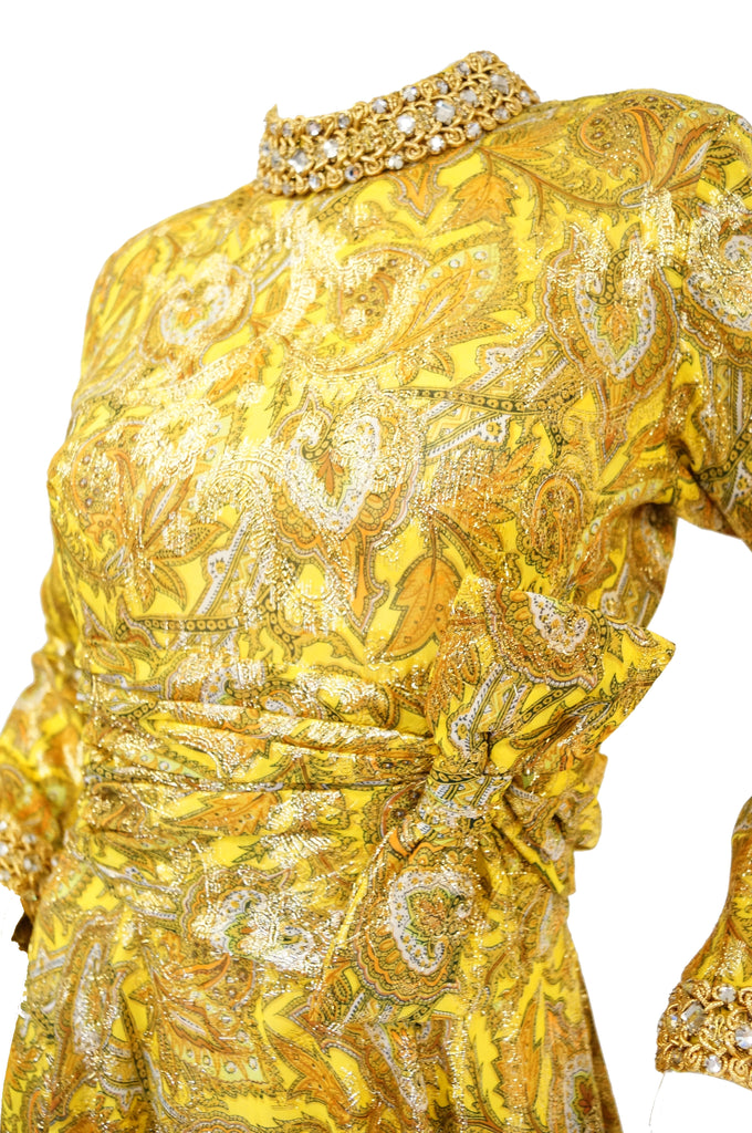 1960s Metallic Mod Dress w/ Rouching & Rhinestone Details
