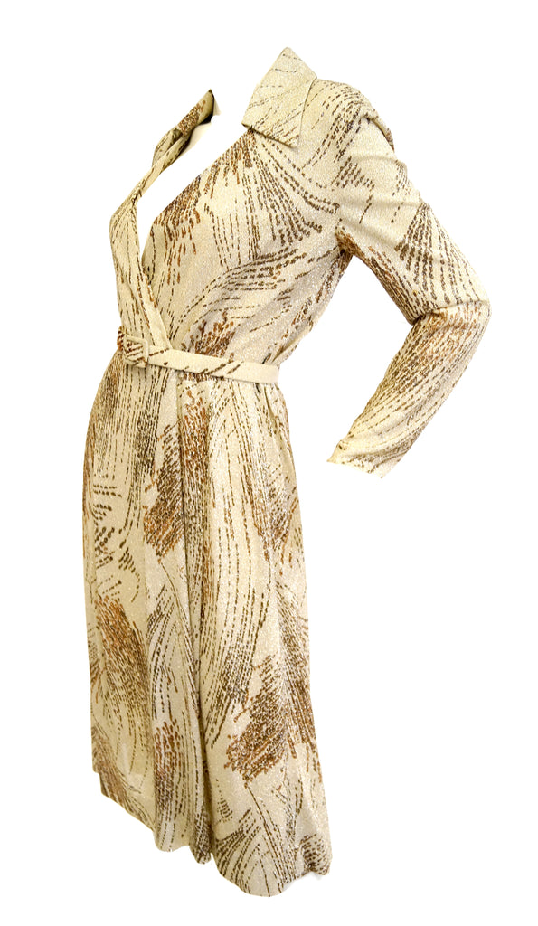 1970s Adele Simpson Metallic Star Trail Dress