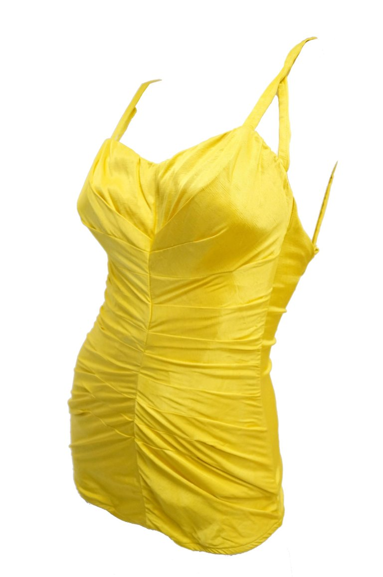 b4f94693475f6 1950s Rose Marie Reid Goldenrod Bathing Beauty Swim Suit - MRS Couture