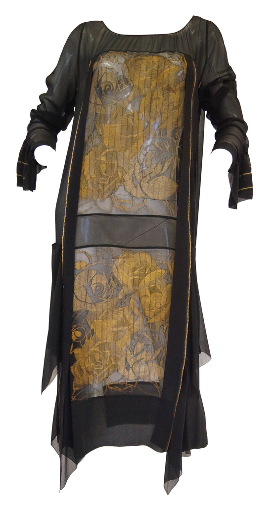 1920s Black and Gold Rose Lame Sheer Evening Dress