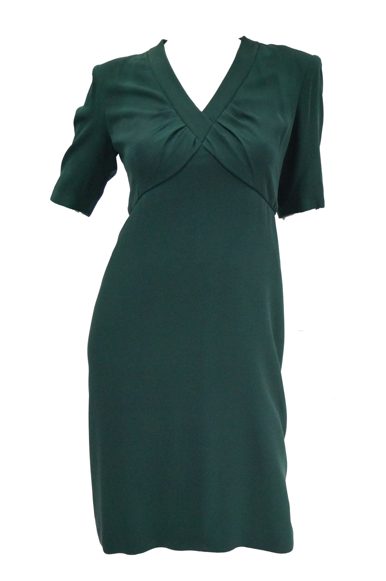 1990s Dior Haute Couture Green Silk Cocktail Dress, Numbered