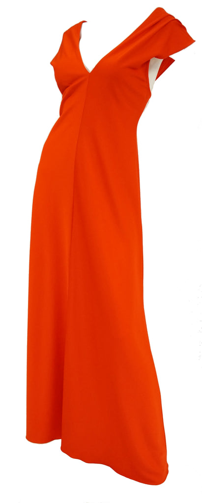 1970s Stephen Burrows Red Drape Back Evening Dress