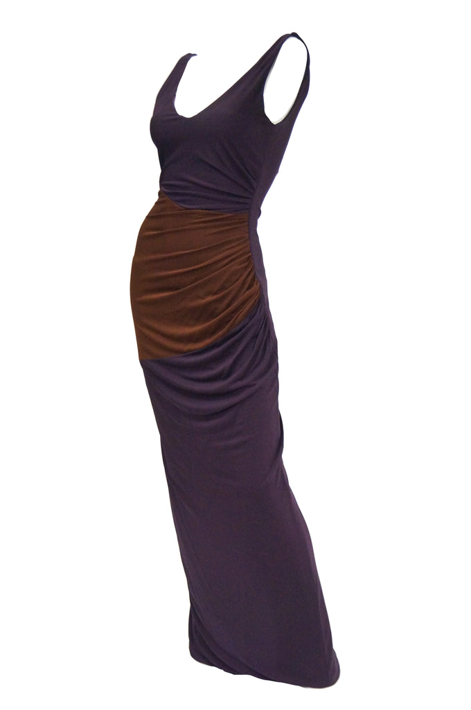 2007 Donald Deal Aubergine and Ginger Colorblock Drape Bodycon Evening Dress