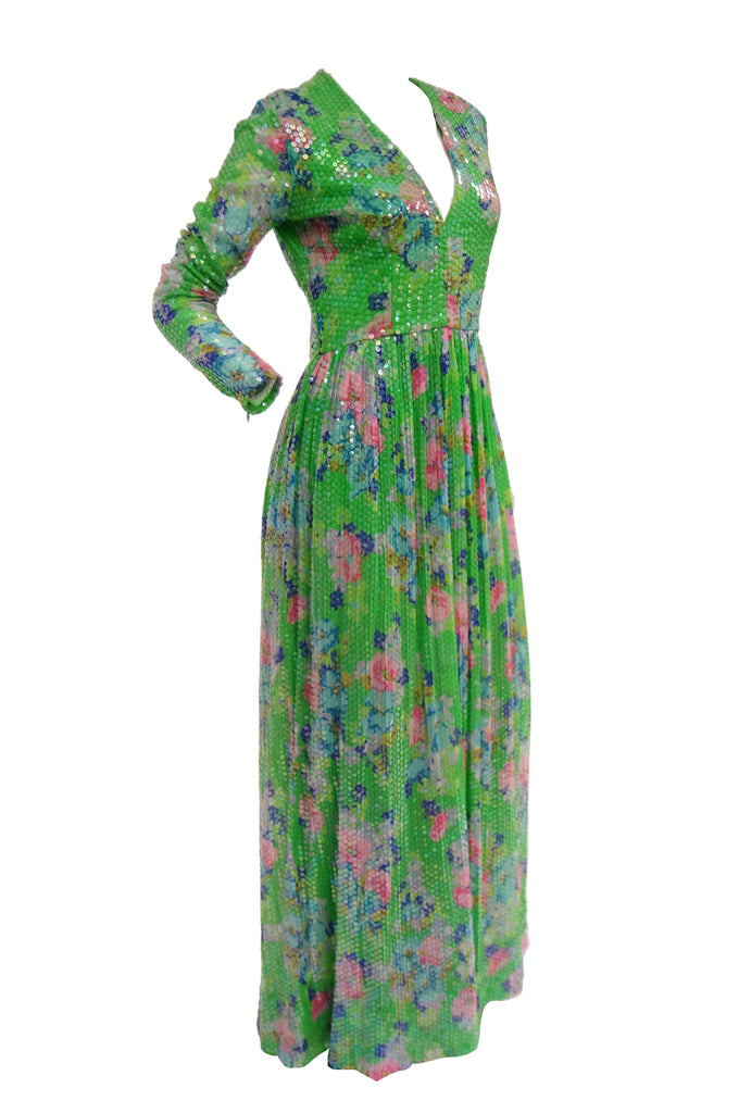 1970s Harold Levine Fully Sequined Green and Pink Floral Maxi Dress
