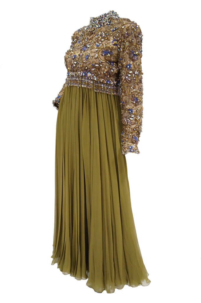 1960s George Halley Olive Green Silk Chiffon Beaded Bodice Evening Dress
