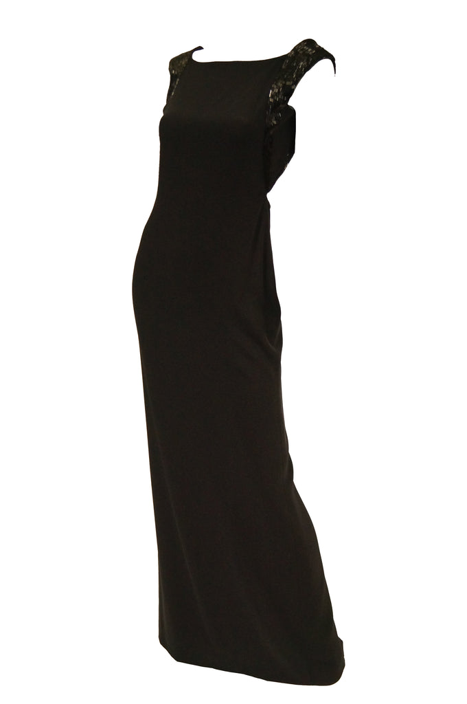 1990s Richard Tyler Couture Black Silk & Sequin Plunge Back Dress