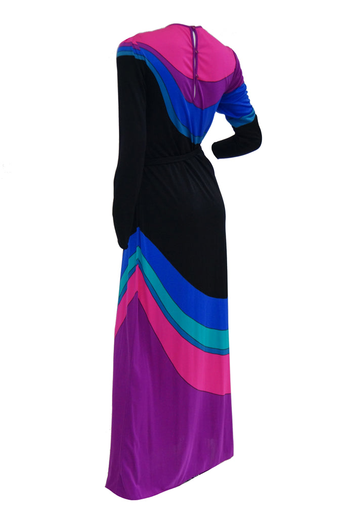 1970s Louis Feraud Vibrant Graphic Pink Blue and Black Swirl Knit Maxi Dress