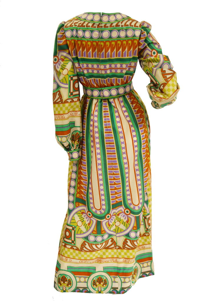 1960s Malcolm Starr Deco Floral Maxi Dress in Green & Yellow