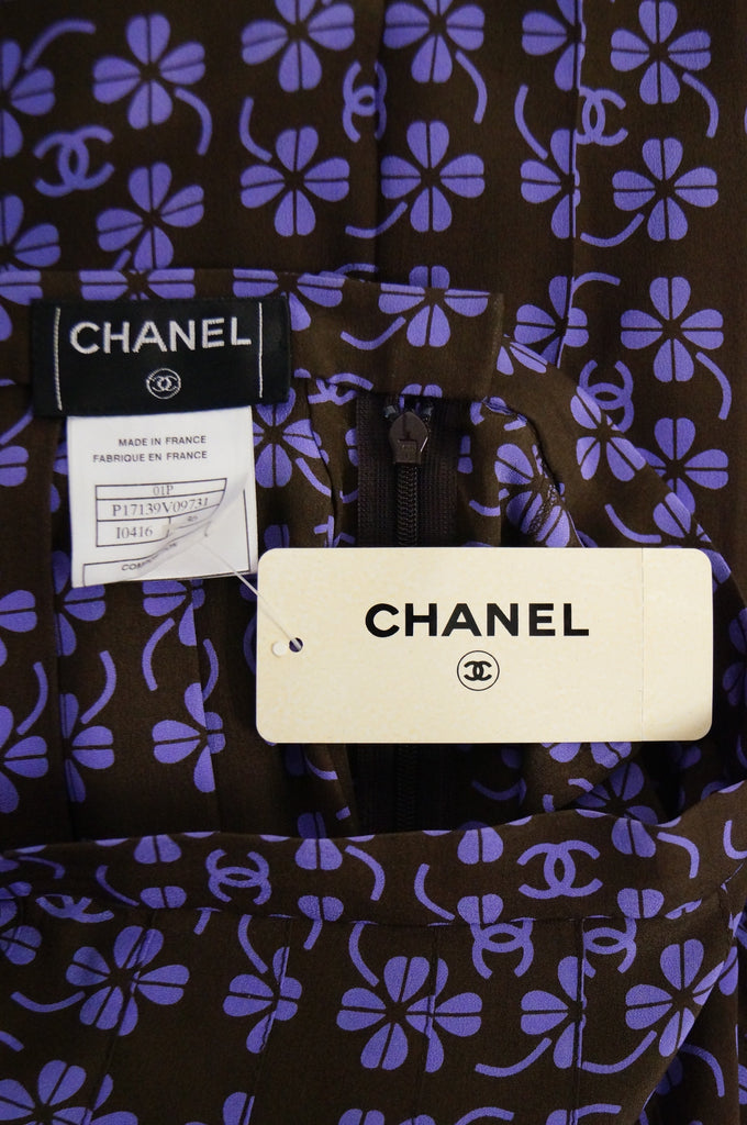 2001 NWT Chanel Purple and Brown Mark Lucky Clover Pleated Skirt