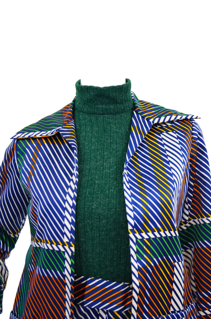 1970s Oscar de la Renta Green Plaid Satin & Knit Dress & Jacket Ensemble