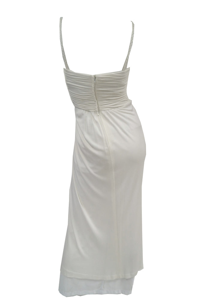 1970s Jill Richards White Knit Grecian Gown with Feather Trim Shawl