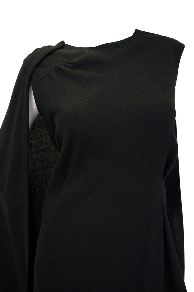 1960s Black Cape Dress