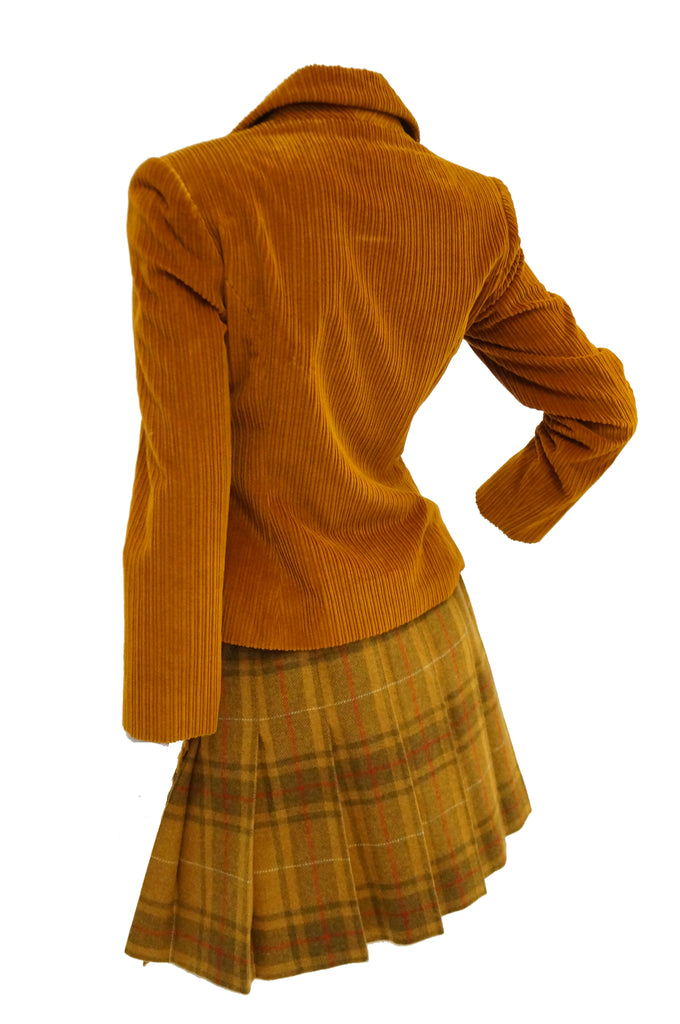 1970s Bill Blass Orange Corduroy and Plaid Pleated Skirt Suit