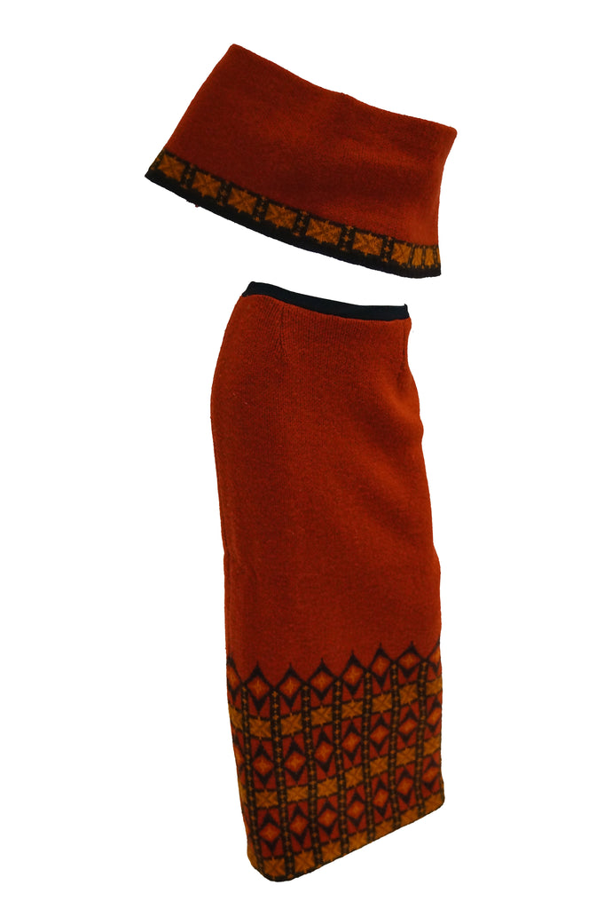 1970s Janus of Norway Red Knit Virgin Wool Skirt and Shrug