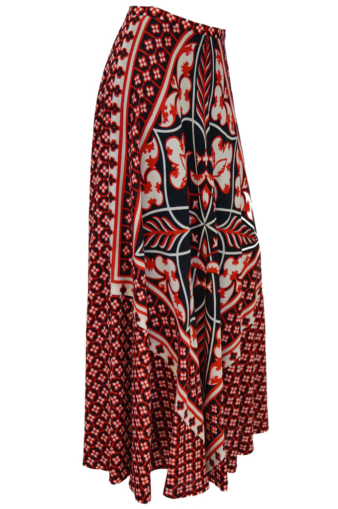 1960s Greek Designer Roula Stathis Hand Printed Red Geometric Skirt- Rare