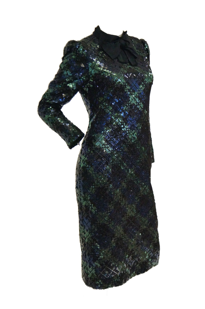 1980s Bill Blass Black and Green Black Watch Tartan Fully Sequined Evening Dress