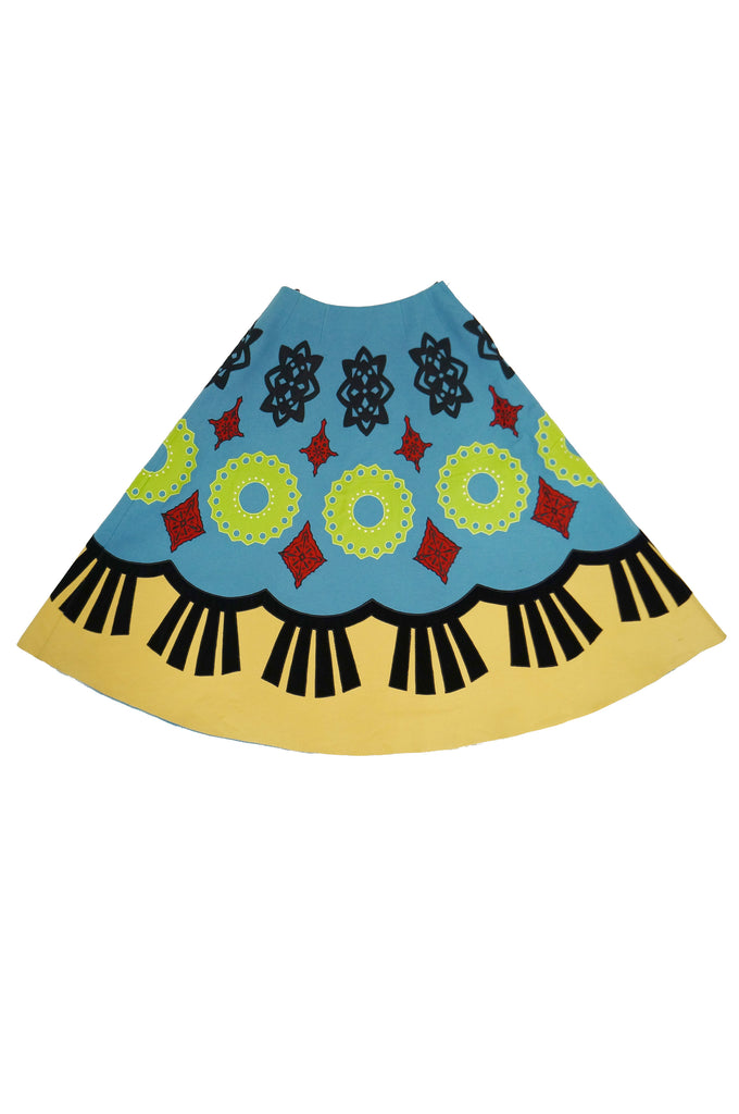 2000 Fall / Winter Keita Maruyama Blue Geometric Felt Circle Skirt